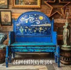 Bench Upcycled from Headboard. Hand Painted Van Gogh Starry Night, Mermaid Tail ,Bohemian Coastal co Antique Headboard, Vintage Headboards, Painted Vans, Hand Painted, Stained Glass Kits, Bench Furniture, Painted Furniture, Furniture Update, Furniture Design