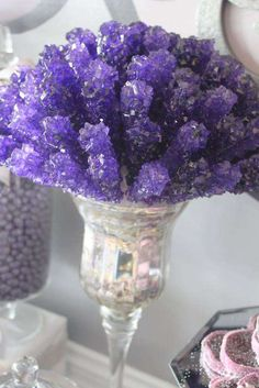 Gorgeous rock candy display at a purple glam wedding party! See more party ideas… The Purple, Purple Food, Purple Sweet 16, Purple Wedding, Trendy Wedding, Wedding Ideas, Unique Weddings, Dream Wedding, Wedding Inspiration