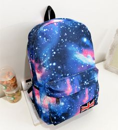 2014 Women printing backpack Galaxy Stars Universe Space  School Book Backpack  British flag Stars bag free shipping-inCasual Daypacks from ...
