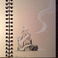 "jeffhassing: ""Inktober Day 15. Relaxing with Uncle Iroh. #ink #inktober2016 #avatar #avatarthelastairbender #uncleiroh #iroh #relax """