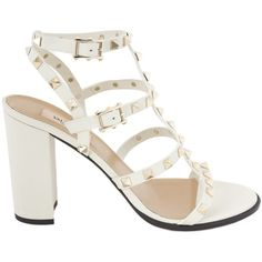 Valentino Rockstud Block-Heel Leather Sandal ($729) ❤ liked on Polyvore featuring shoes, sandals, heels, valentino, white, white heeled sandals, valentino shoes, white leather sandals, block heel sandals and block heel shoes