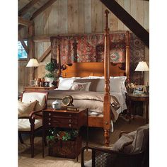 <p>The original antique bed was discovered in a small coastal town in Maine, probably made locally during the late Federal period, CA 1800-1820. Most beds of this elegant form were produced in Mahogany and seldom found in native wood. The use of Tiger Maple for our Maine Sea Captain's bed gave a serious Federal style a light-hearted twist. Features chamfered rollback headboard with recessed panels and decorative 'cookies'. Offered here in Tiger Maple with traditional finish. Also available ...