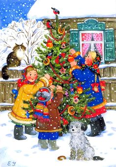 Russian Orthodox Christmas and New Year holidays in nice pictures by the artist Elena Uvarova from Moscow Very Merry Christmas, Noel Christmas, Vintage Christmas Cards, Christmas Scenes, Christmas Pictures, All Things Christmas, Illustration Noel, Christmas Illustration, Magical Paintings
