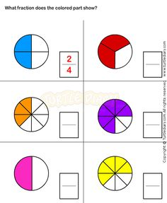 Worksheets Fractions Of Shapes Part 2 Fractions Of Shapes, Math Fractions Worksheets, 3rd Grade Fractions, Learning Fractions, First Grade Math Worksheets, Shapes Worksheets, Third Grade Math, School Worksheets, Teaching Math