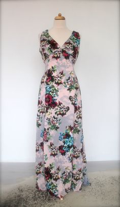 Vintage inspired evening dress wth floral door SunnySideCouture