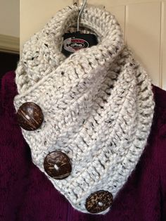 Stay snuggly warm and look great wearing this handmade Boston Harbor Scarf. Its crocheted using soft and chunky acrylic yarn in beige with large 2