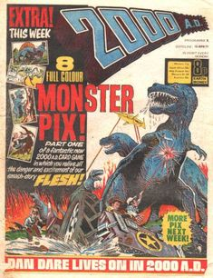 "2000AD #8. Way before Jurassic Park we had ""Flesh"", the story of how a future Earth solved a worldwide food shortage - travel back in time and harvest the dinosaurs!"
