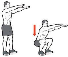 O movimento é bastante parecido com o da parede, só que sem a parede. A diferença é que, por não tem apoio, você projeta o bumbum para trás, uma média abertura da perna vai te dar mais equilíbrio, assim como projetar os braços a frente.  Exercício para bumbum e pernas de ferro.