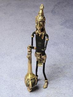 Stone-Brass Dhokra Hanuman Statue 5.2in x 2in x 10in
