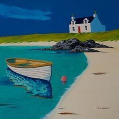 """Croft and boat<br />16"""" x 16""""<br />acrylic"""