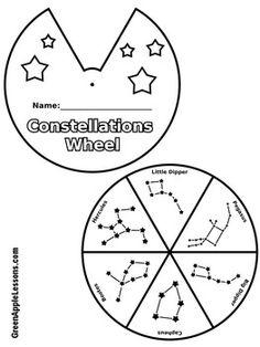 Constellation Worksheet Activity by Green Apple Lessons Constellation Activities, Constellation Craft, Kindergarten Worksheets, Worksheets For Kids, In Kindergarten, Space Solar System, Solar System Projects, Space Activities, Science Activities