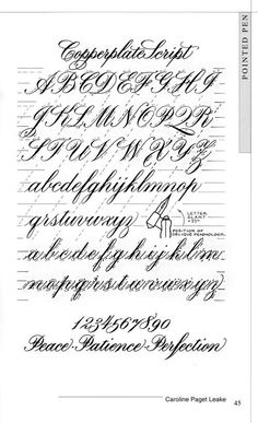 This copperplate alphabet shows the slant and how the letters flow together without breaking. This is a different concept from hand or brush lettering. Calligraphy Worksheet, Calligraphy Tutorial, Copperplate Calligraphy, Calligraphy Handwriting, Learn Calligraphy, Calligraphy Letters, Penmanship, Copperplate Writing, Modern Calligraphy Alphabet