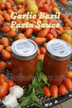 Recipes We Love: Garlic & Basil Pasta Sauce -- home canning or freezer friendly Canning Tips, Home Canning, Canning Recipes, Basil Pasta Sauce, Tomato Sauce, Canned Food Storage, Us Foods, Sauce Recipes, Vinaigrette