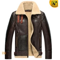 Sheepskin Bomber Jacket / Shearling Aviator Jacket Brown CW856118 ($1,626) ❤ liked on Polyvore featuring outerwear, jackets, coats & jackets, nico, zipper jacket, shearling lined jacket, sheepskin bomber jacket, leather jacket and flight jacket