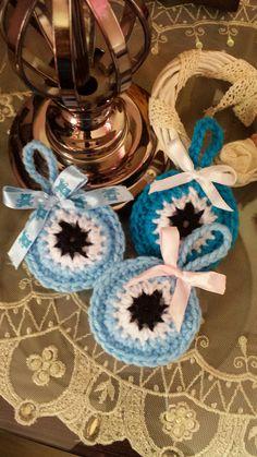 Πλεκτα ματακια Baby Boy Baptism, Evil Eye, Christening, Christmas Crafts, Crochet, Ideas, Crochet Flowers, Key Hangers, Hearts