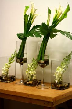 monstera leaves, green calla lilies, white calla lilies, white and green tropical centerpiece, white dendrobium centerpiece, tropical centerpiece, tropical buffet arrangement,