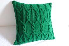 Funda de almohada punto de Cable verde pino Navidad