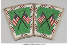 American Indian Art:Beadwork and Quillwork, A PAIR OF SIOUX PICTORIAL BEADED HIDE CUFFS. c. 1900... (Total: 2Items)