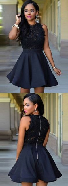 little black dress, 2017 short black homecoming dress, black lace homecoming dress party dress #homecomingdresses #homecomingdressesshort