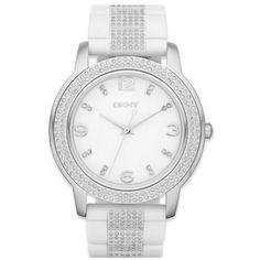 DKNY NY8526 White Silver Glitz Ladies Watch