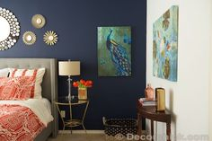 Surprise! I Redid Our Master Bedroom Again! Navy and Coral Bedroom - Decorchick!