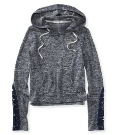 Sheer Cropped Lightweight Popover Hoodie by Aeropostale