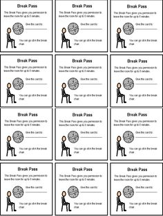 Break pass (please note you can alter this for free in Picmonkey. I turned these into break passes with a empty box to place the child's choice of break)