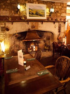 Every good country pub needs a good fireplace - The Bull, Broughton, Skipton, North Yorkshire, UK