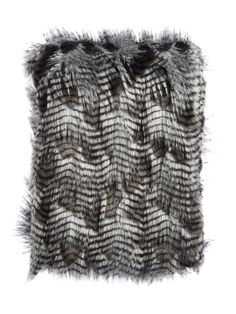 Gray Peacock Faux Fur Throw by Tourance at Gilt