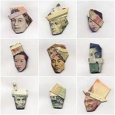 Orgami Hats for the money faces