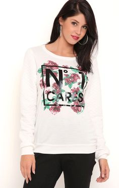 Deb Shops Long Sleeve Quilted French Terry Top with No 1 Cares Screen Print  $24.00