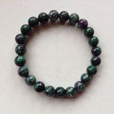 Ruby Zoisite Bracelet. Rare Semi Precious Stone Bracelet, Pro Handmade. Stretch