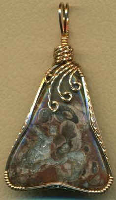 Mushroom Jasper Bronze Wire Wrap Pendant