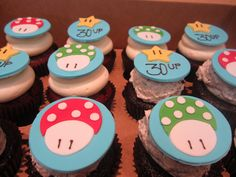 Nintendo, Super Mario Custom Cupcake Fondant Toppers from Flavor #Cupcakes made fresh at our bakery in Bel Air, MD & Cockeysville, MD. #baltimoredesserts #baltimorecupcakes #belaircupcakes #cockeysvillecupcakes #flavorcupcakery
