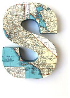 Vintage Map Letter B on Reclaimed Wood - artwork - orange county - Shelley Gardea