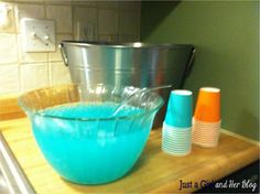 """mermaid blue punch.  can add ice cream to make it """"punch-y"""""""