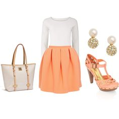 coral shoes and skirt