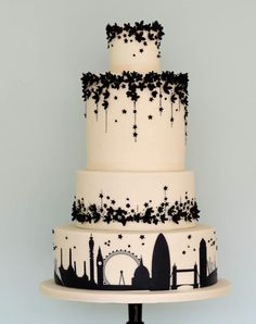City Scene & floral, black & white cake.