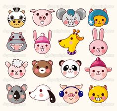 Illustration of Set of cute cartoon round animals, vector zoo stickers vector art, clipart and stock vectors. Cartoon Baby Animals, Animal Cartoon Video, Cartoon Faces, Cute Cartoon, Cute Animal Memes, Cute Animal Videos, Cute Animals Puppies, Cute Baby Animals, Animal Tattoos For Men
