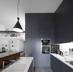Apartment in Lisboa by RRJ Arquitectos Home Kitchens, Modern Kitchens, Simply Beautiful, Interior And Exterior, Beach House, Kitchen Cabinets, Ceiling Lights, Table, Furniture