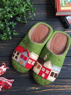 """Felted shoes   Купить Тапочки """"Люблю весну"""" - Тапочки ручной работы, тапочки, тапочки домашние, тапочки из шерсти"""