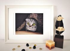 Art Print of a cat, ready to attack! The cutest kitty art print! Surrealism Painting, Animal Prints, Paper Size, Cute Cats, Original Artwork, Fine Art Prints, Pastel, Kitty, Pretty Cats