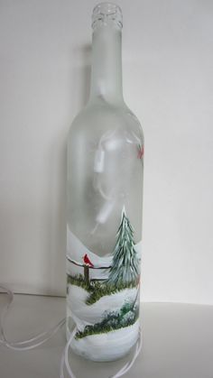 Winter Tree with Cardinals Lighted Wine от EverythingPainted Glass Bottle Crafts, Wine Bottle Art, Painted Wine Bottles, Lighted Wine Bottles, Diy Bottle, Bottle Lights, Glass Bottles, Christmas Wine Bottles, Wine And Liquor