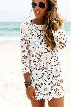 Bikini Cover Up Lace Hollow Crochet Swimsuit Beach Dress