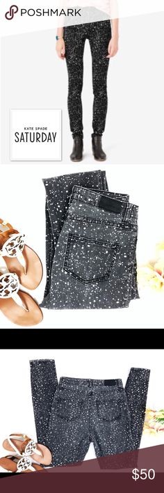 """🏆HP🏆Kate Spade Saturday High Waisted Skinny Jean Fun Kate Spade Saturday """"Night Out"""", high waisted, skinny jean with stretch in dark gray. Fun, trendy and comfy jeans that have a splattered paint look on them. In excellent condition!  •measurements•  Inseam: 31"""" Rise: 11"""" kate spade Jeans Skinny"""