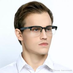 e9cc473b10f Semi-Rim Men Eyeglasses Frame Brand Designer With Box Reading Optical  Glasses Frame Myopia With