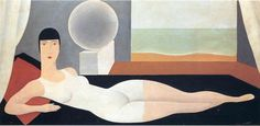 'Bather' (1925) by Belgian painter Rene Magritte (1898-1967). Oil on canvas, 50 x 100 cm. via WikiPaintings