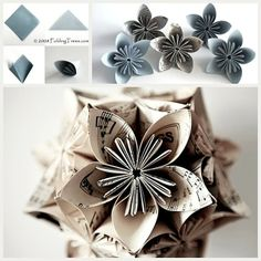 Origami Flower DIY Tutorial - handmade craft idea for stylish gift wrap packaging or home decor!