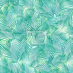 Papier peint Tropical palm leaves in a seamless pattern on a white background