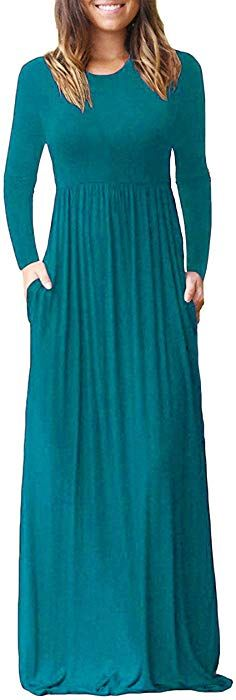23ae69bfd3 Aifer Women's Long Sleeve Loose Maxi Dress Casual Long Plain Dresses with  Pockets at Amazon Women's